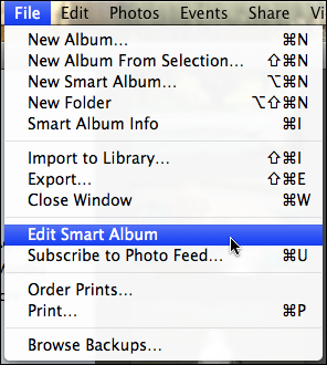 iphoto file edit smart album