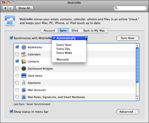 mac os x system preferences mobile me setup sync