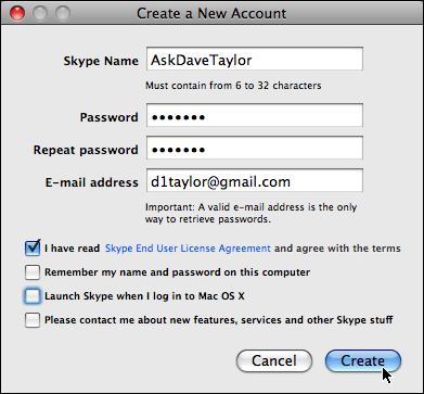 skype create new account