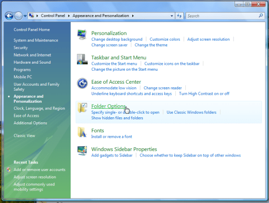 windows vista appearance folder options