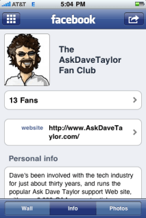 facebook iphone fan page info