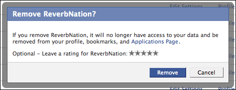 facebook settings application authorized reverbnation remove