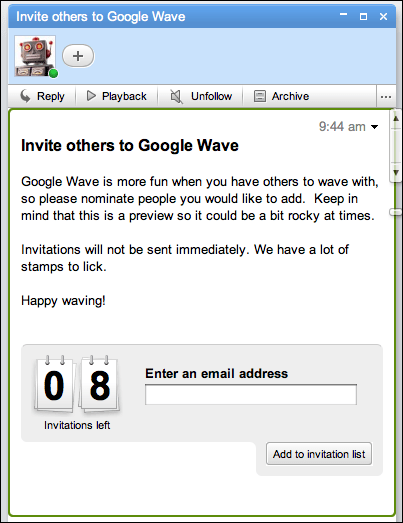 google wave send invite
