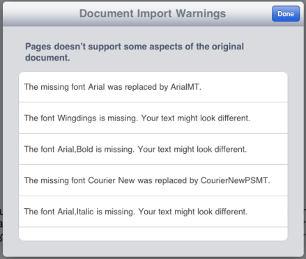 ipad pages document import warnings