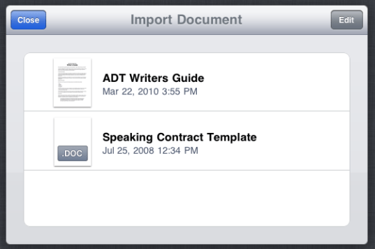 ipad pages import document