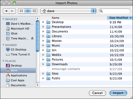 iphoto file import to library select