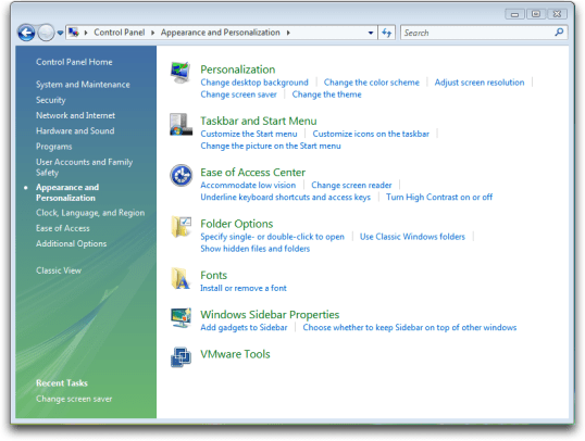 windows vista control panel appearance personalization