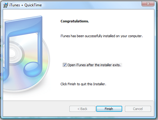 windows vista itunes installed