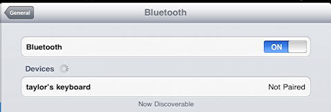 ipad bluetooth keyboard not paired