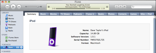 mac itunes standard plugged in ipod view