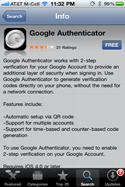 iphone google authenticator 1