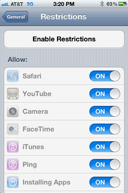iphone ios user access restrictions 2