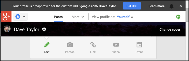 google plus custom url invite