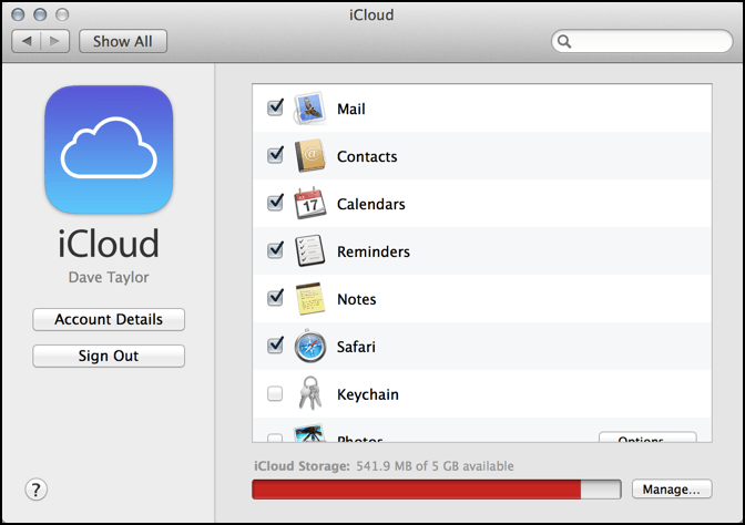 iCloud system settings preferences out of space