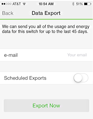 where / how to export energy usage monitoring data from wemo app device