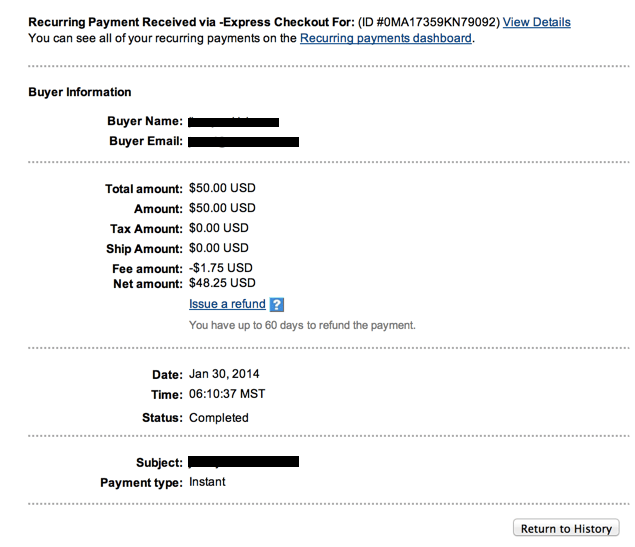 individual transaction details in paypal