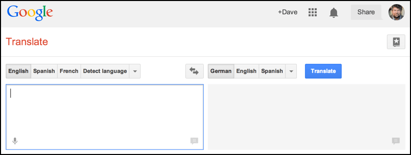 basic interface to google translate, german to english, french to italian