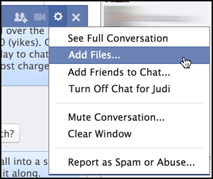 facebook fb chat messenger options menu