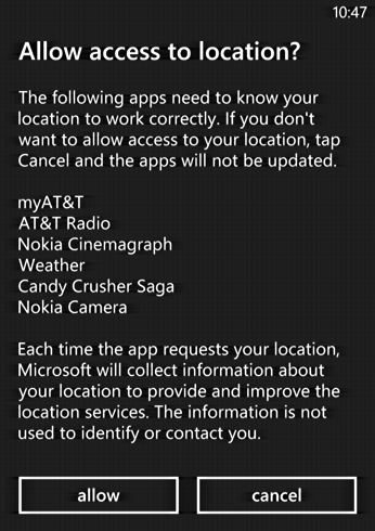 apps need location access