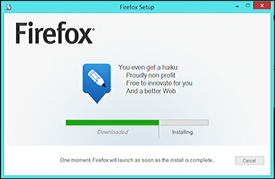almost done installing firefox