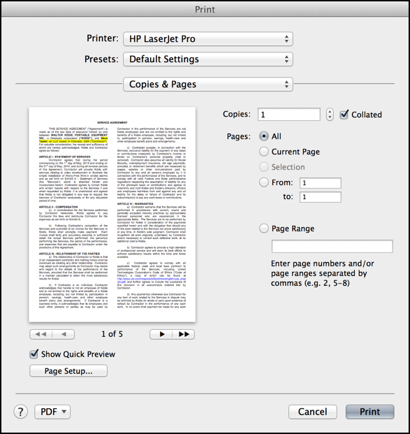 print document or file mac os x