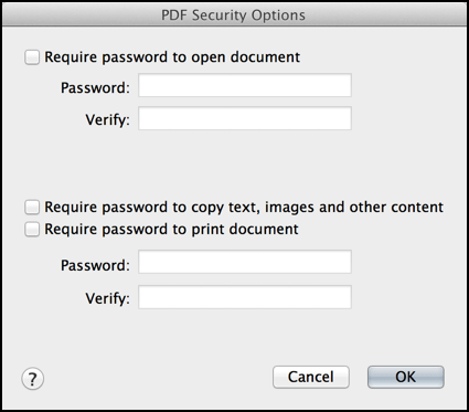 pdf security options mac os x mavericks
