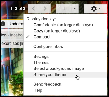 gmail settings - share theme