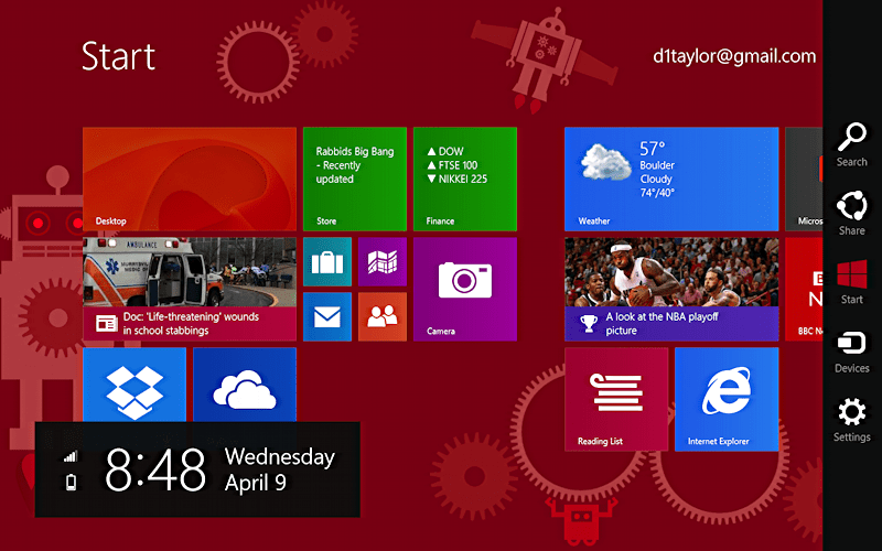 win8 with charms bar