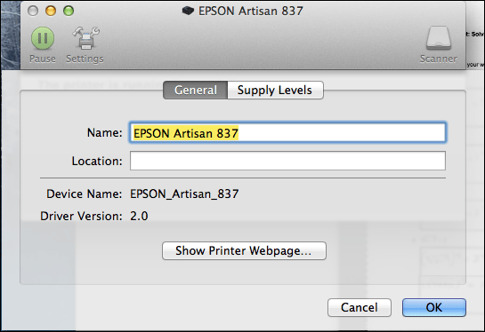 Epson Mac Printer Settings / General