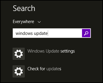 search for windows update in win8.1