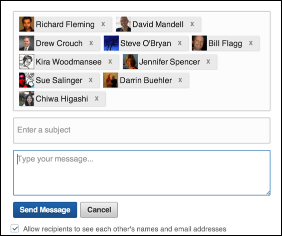 linkedin email message, recipients match search criterion