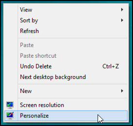 right click personalize win8 desktop