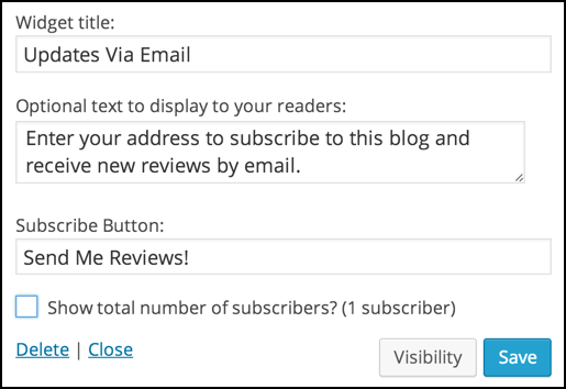 customized wordpress email subscription feature