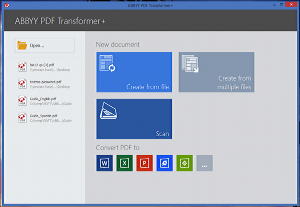 abbyy pdf transformer plus - home screen