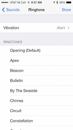 some of the many custom ringtones on an iphone 5s