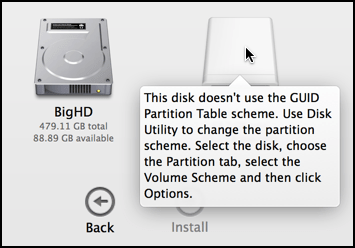 why can't I install yosemite mac os x osx on my flashdrive external drive