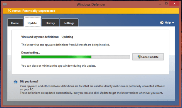 windows defender: update