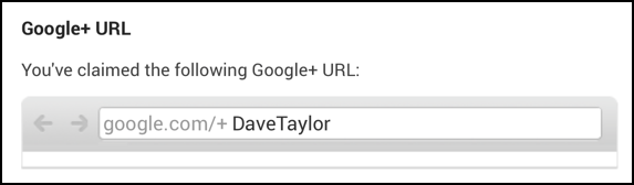 personal URL on Google Plus