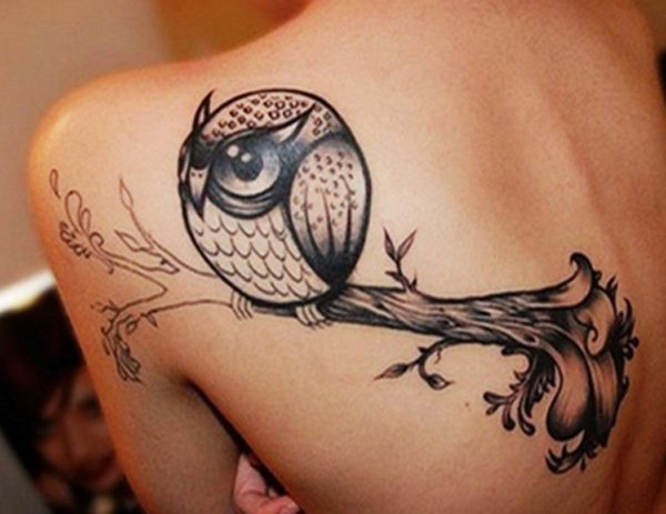 Black Cute Owl Tattoo On Left Back Shoulder By Vanessa of 1 by Julie
