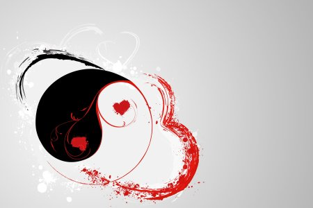 black and red heart in yin yang tattoo design