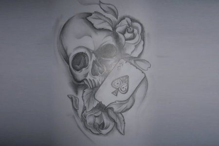 grey ace of spade with skull and roses tattoo design