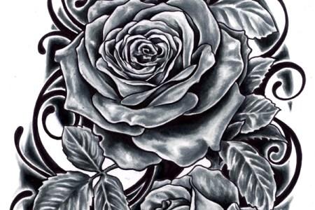 black ink roses tattoo design