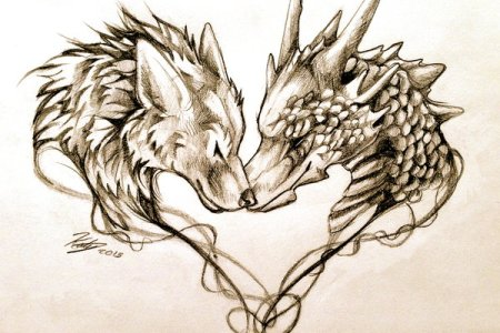 dragon and wolf head in heart shape tattoo design by lucky978