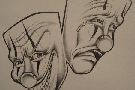 amazing two clown mask tattoo design