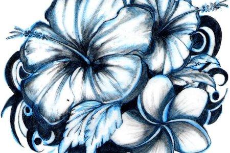 3d hawaiian flowers tattoo design