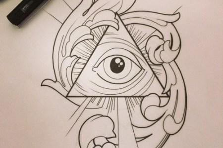 black outline eye in pyramid tattoo design