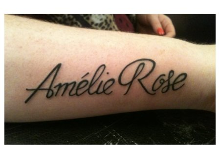 amelie rose baby name tattoo design for sleeve