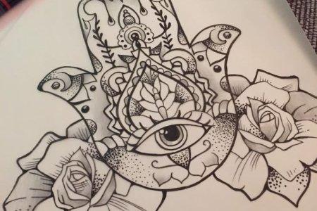 dotwork hamsa with roses tattoo design