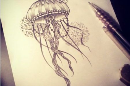 black and grey jellyfish tattoo design