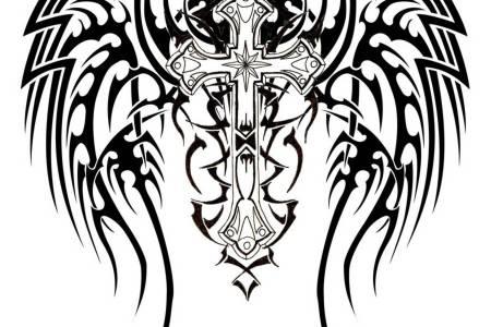 christian cross with nice tribal design tattoo